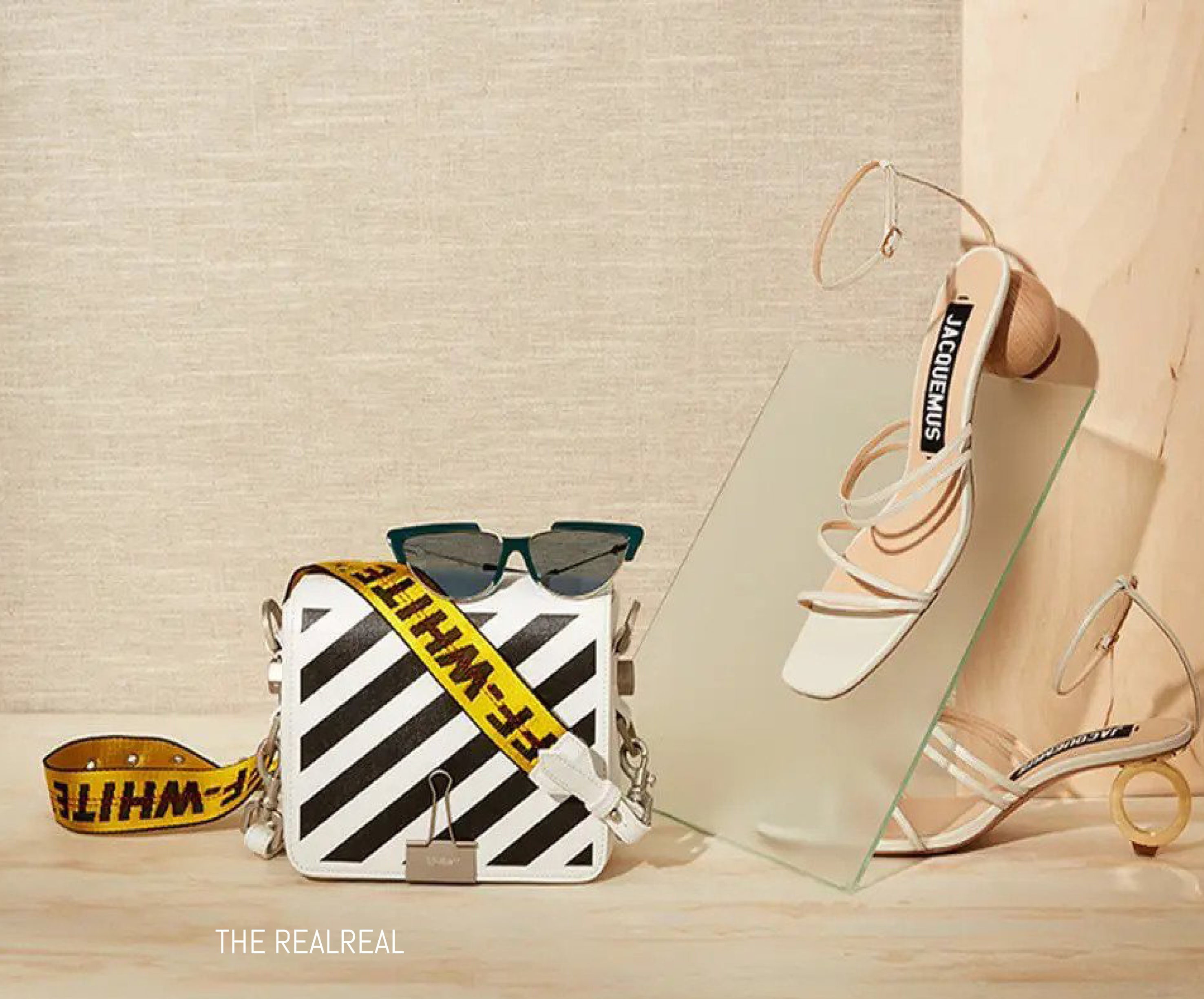 Off White bag and Jacquemus heels for The RealReal
