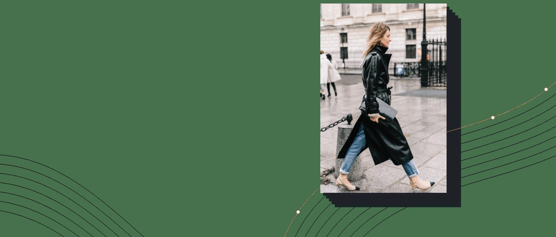Paris Fashion Week-femme avec manteau noir