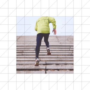 Man running up stairs - yellow softshell jacket - blue legging