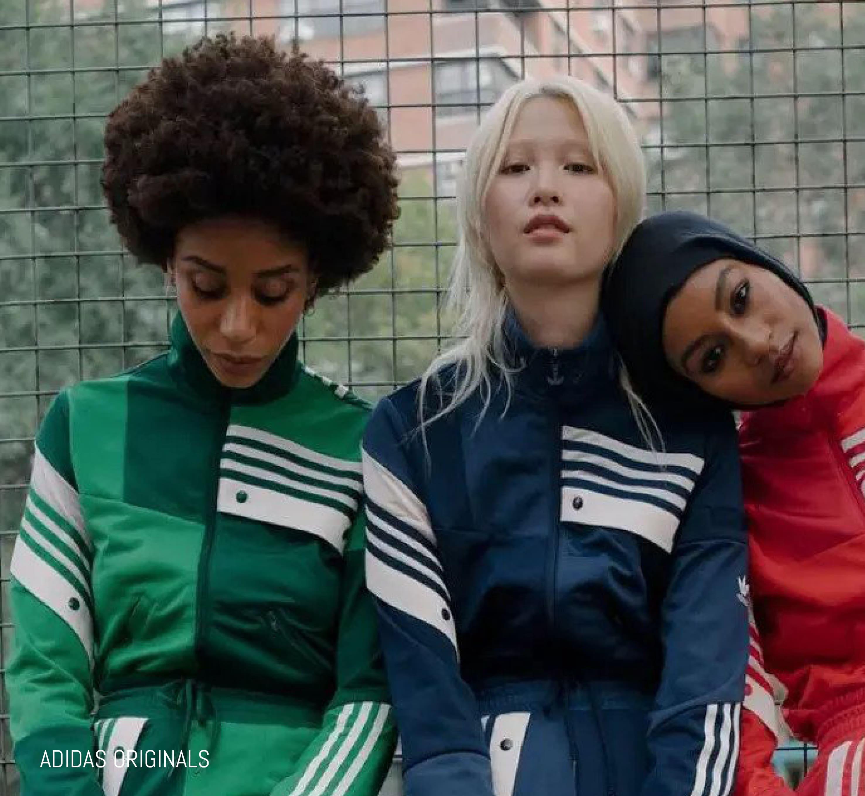 Gen Z models pose in Adidas Originals tracksuits