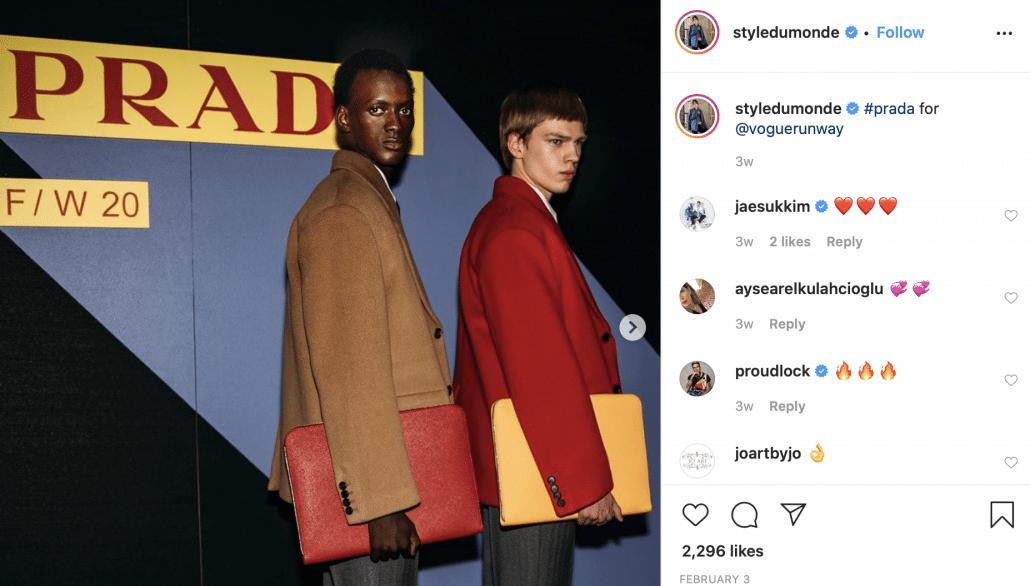 Styledumonde's Instagram post of two models posing for Prada