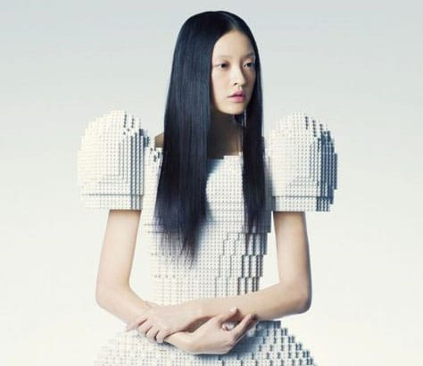 Woman wearing futurist dress