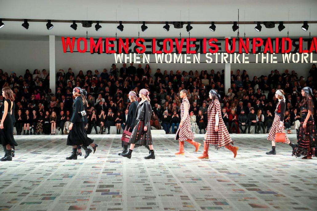 Models walk down Dior FW20 Runway