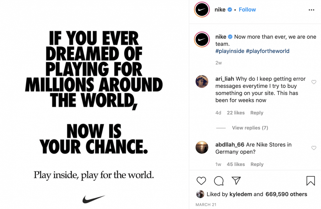Nike's Instagram post