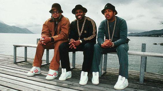 Hip-hop stars Run DMC sporting Adidas