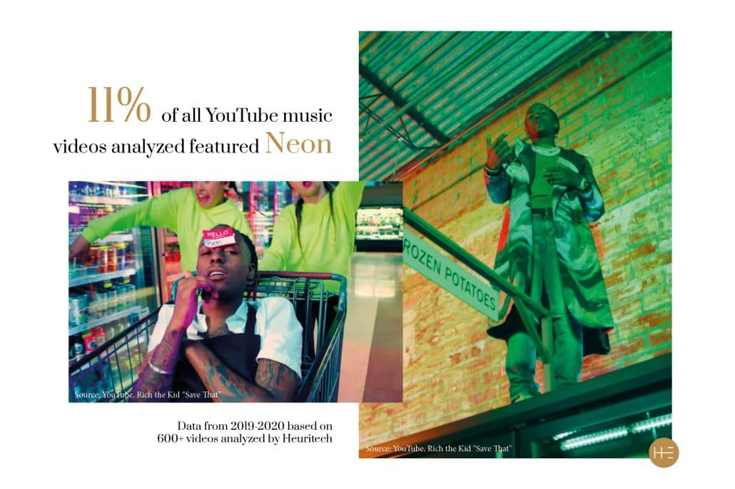 Heuritech music video analysis of hip-hop trends neon
