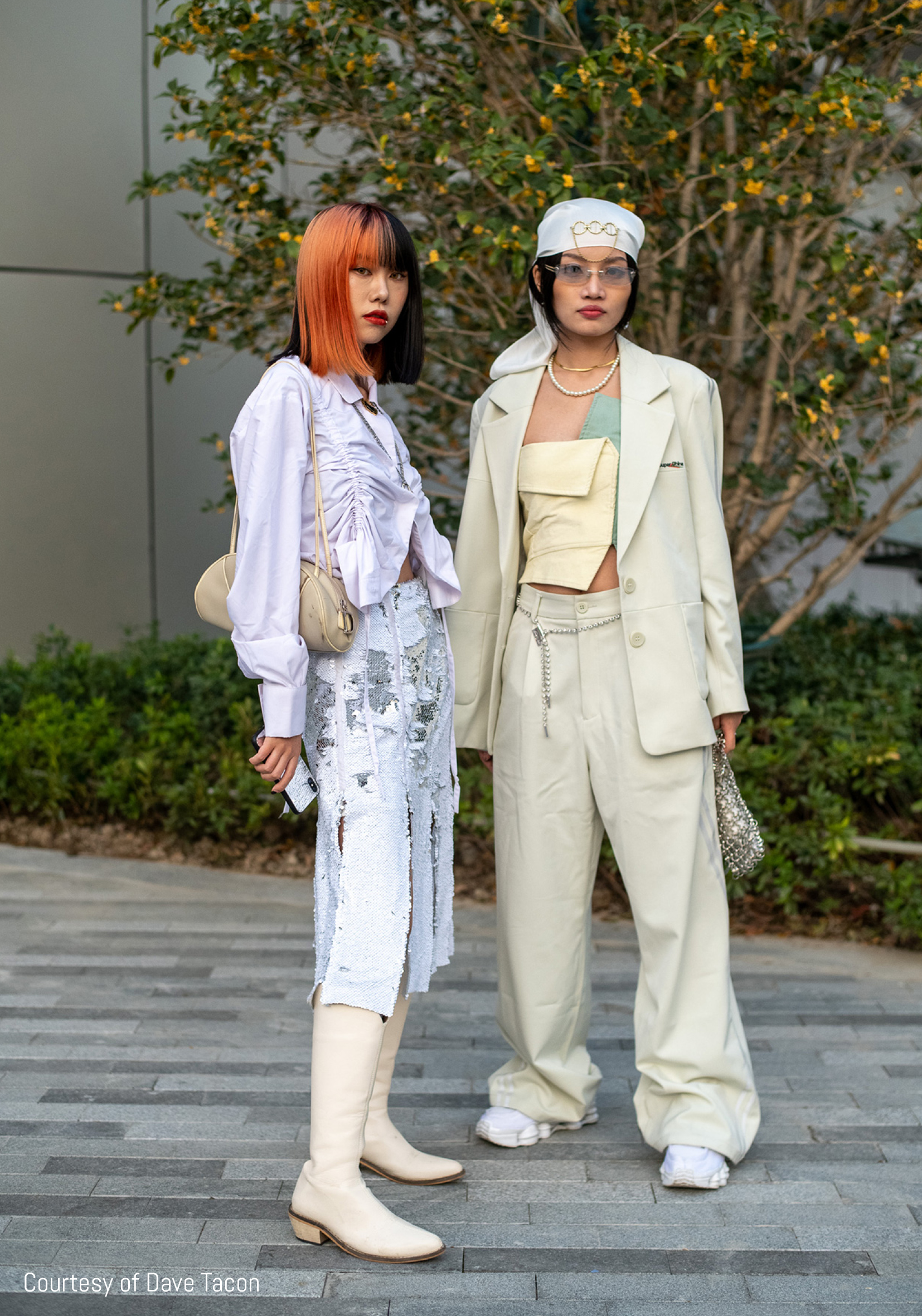 Streetstylers pose in neutral tones by Dave Tacon at Shanghai Fashion Week SS21
