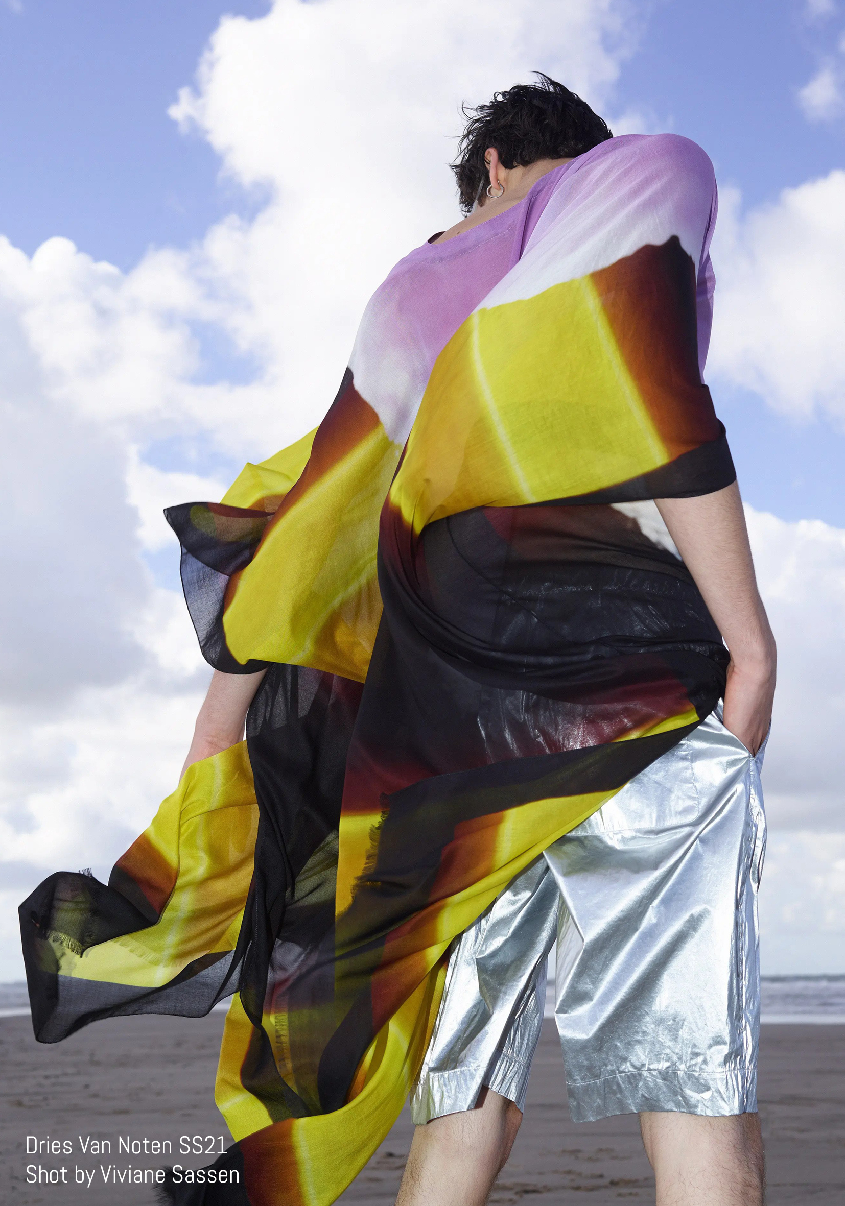 Model poses in psychedelic top for Dries Van Noten SS21 Shot by Viviane Sassen