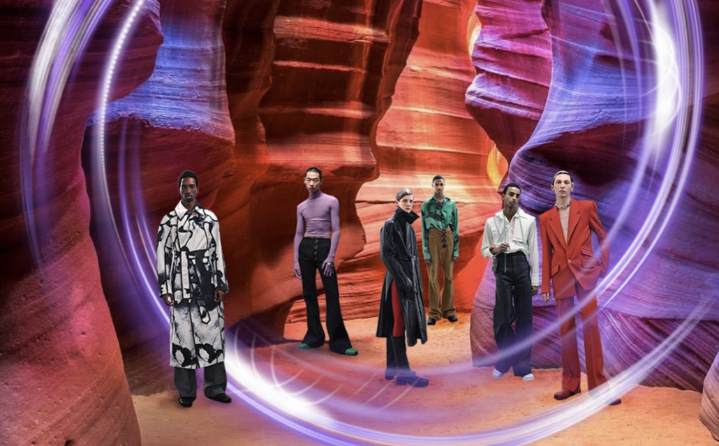Models pose in a digitalized canyon-scape for the FW20 Pronounce Digital Fashion Show in Shanghai