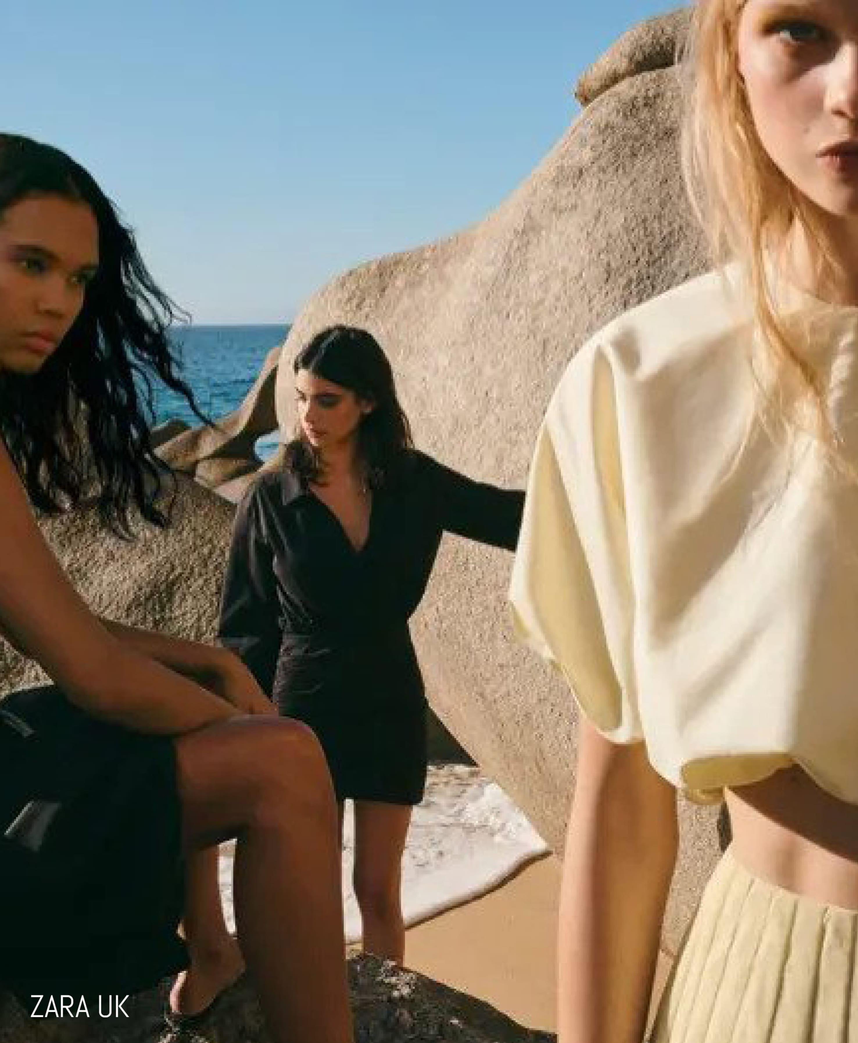 Models on a beach for ZARA UK