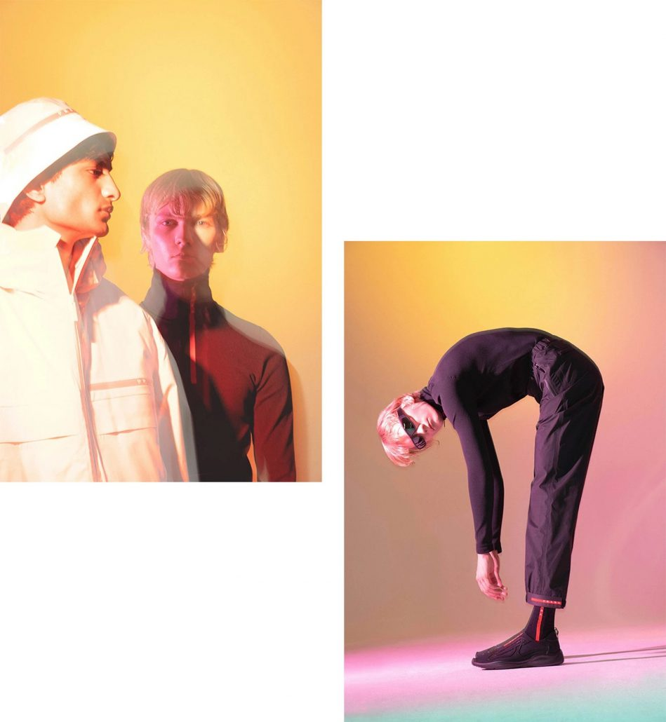 Fashion digitalisation embodied by male models posing in sunglasses and workwear for Prada/Rita Lino campaign