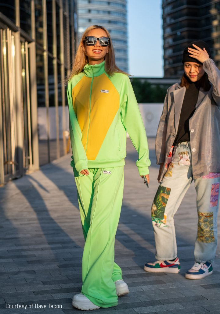 Model in a lime green tracksuit by Dave Tacon at Shanghai Fashion Week SS21