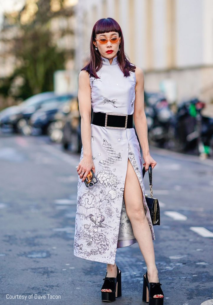 Streetstyler wears a cheongsam by Dave Tacon Shanghai Street Style SS21