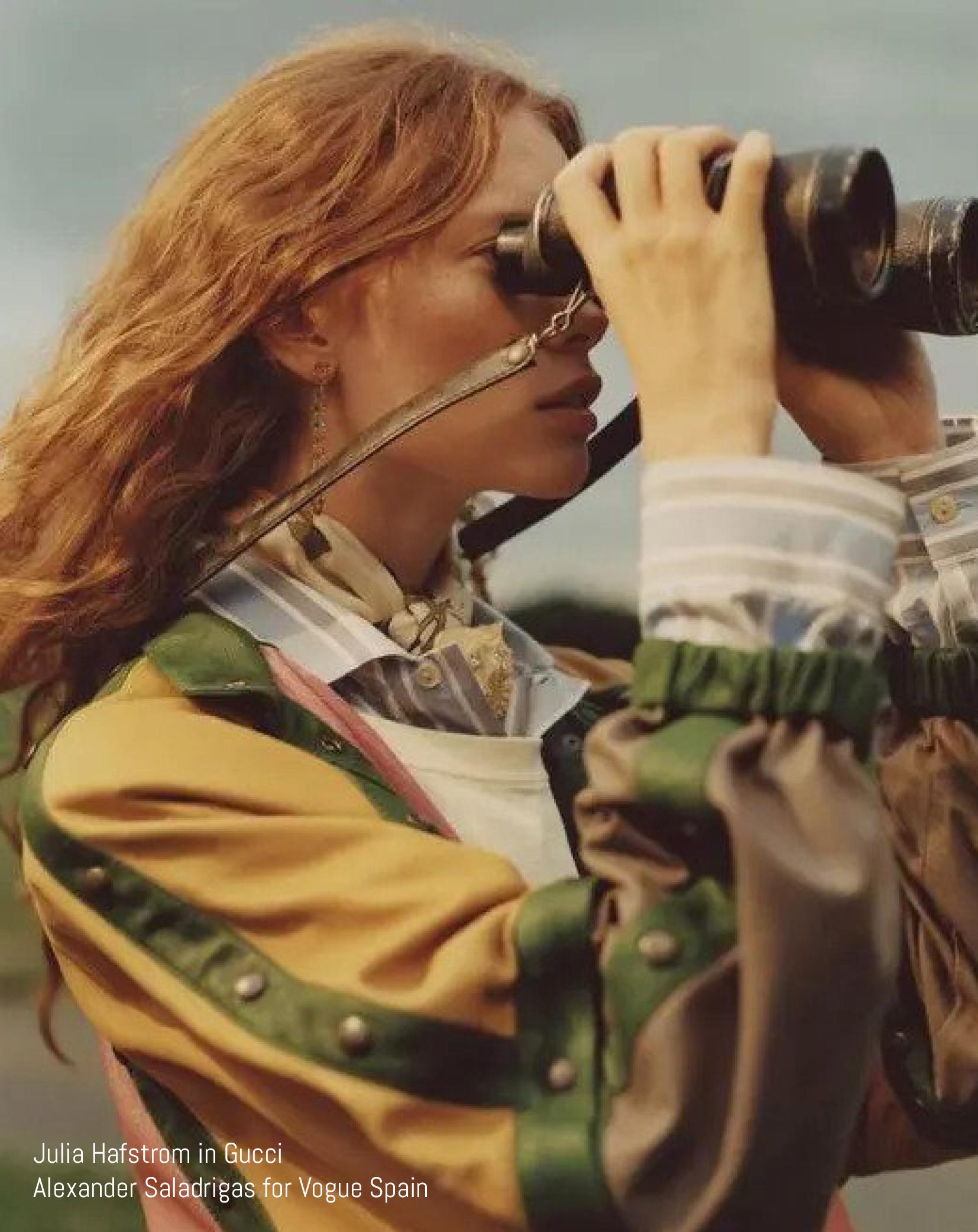 Model looks through binoculars