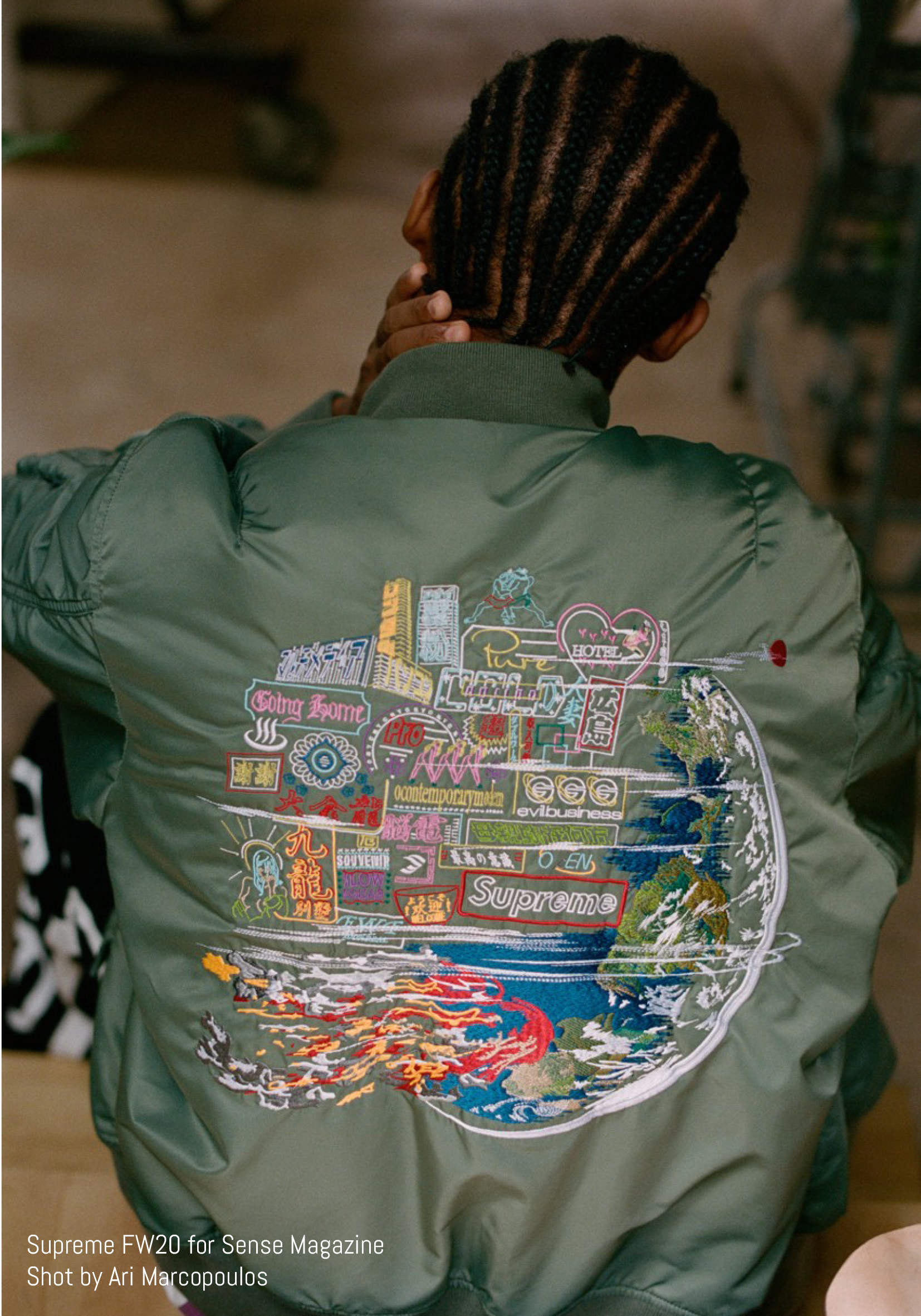 Embroidered green bomber jacket by Supreme