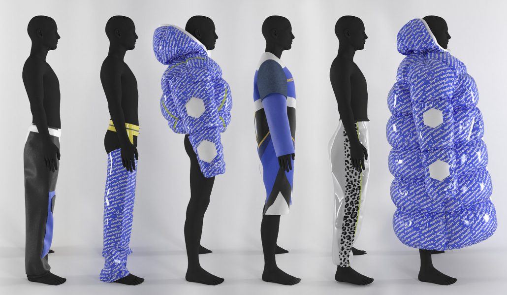 3D-created mannequins stand in a line wearing Texintel, an AI-based fashion brand