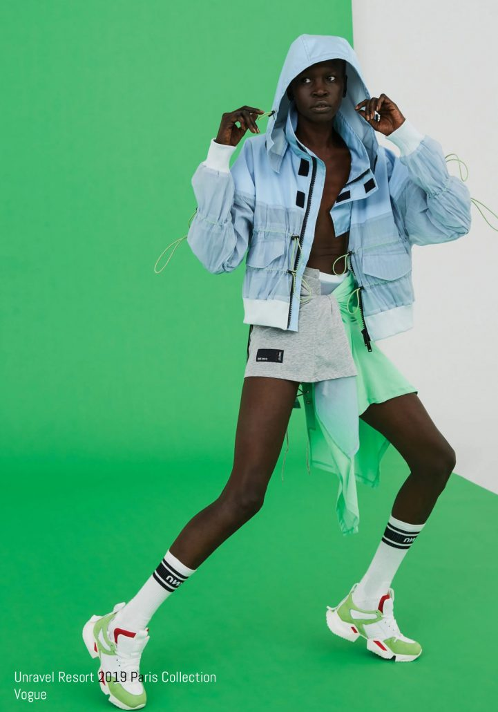 Model poses in activewear for Unravel Resort 2019 Paris Collection Vogue