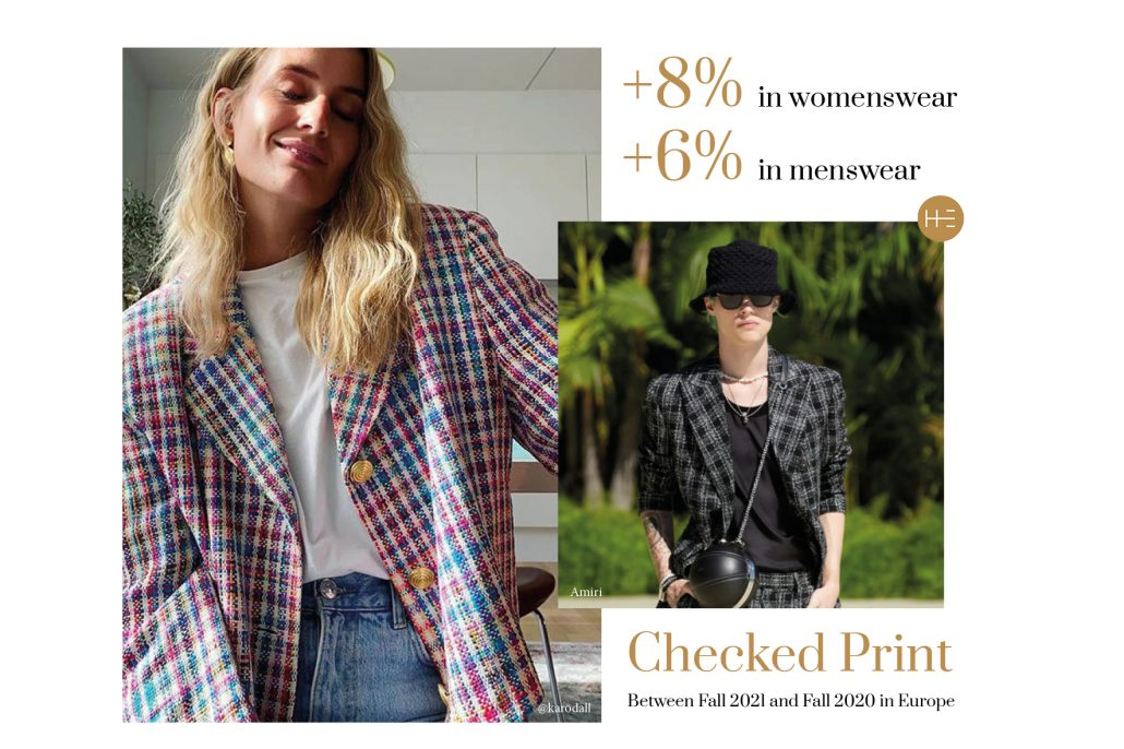 Checked print trend forecast by Heuritech for Fall 2021