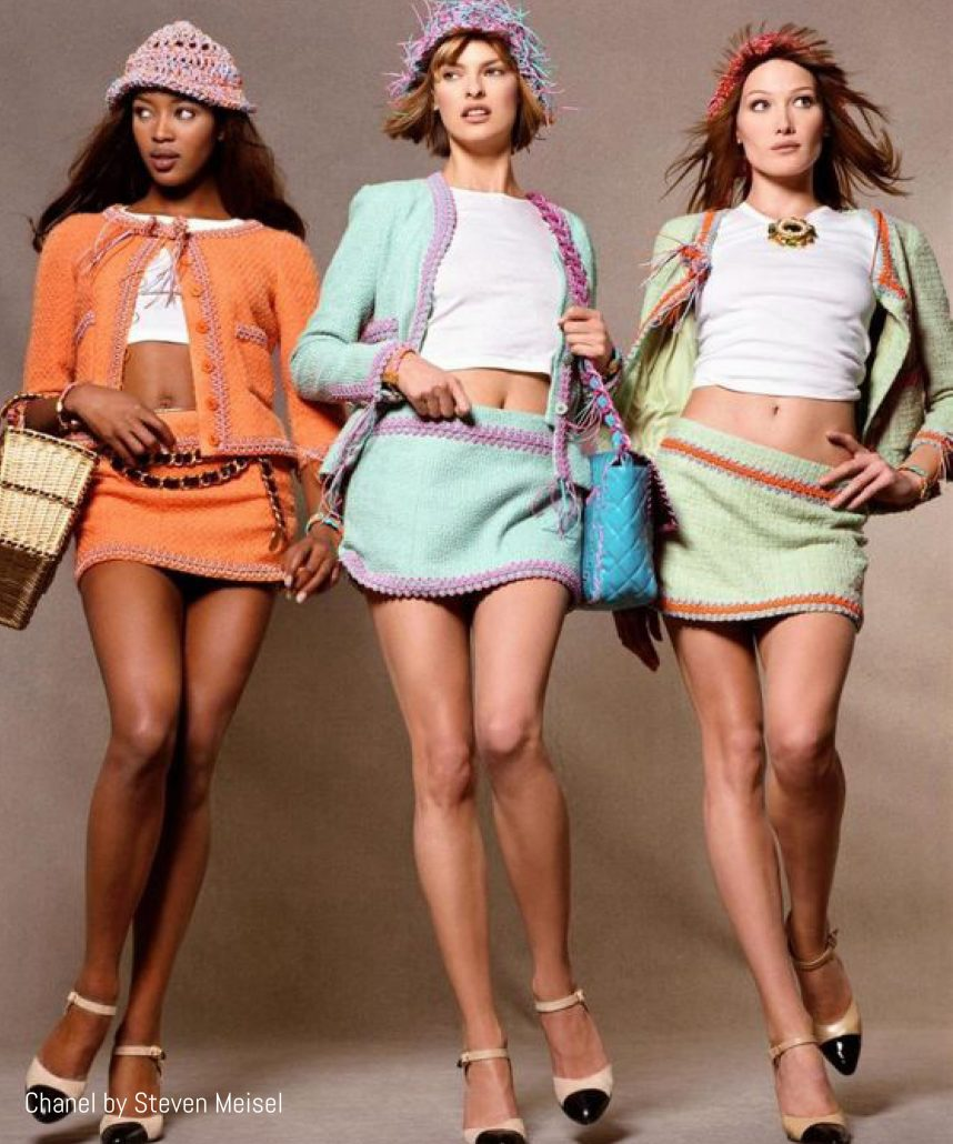 Models in mini skirts shot by Steven Meisel for Chanel 1994