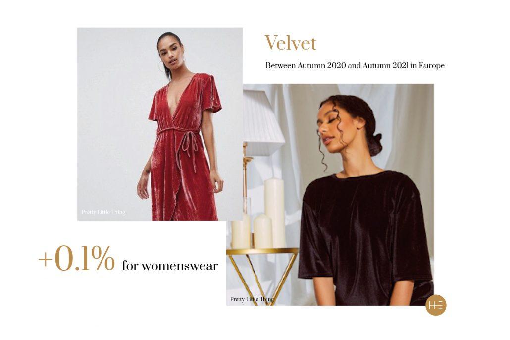 Velvet trend forecast for autumn 2021 by Heuritech for Pretty Little Thing