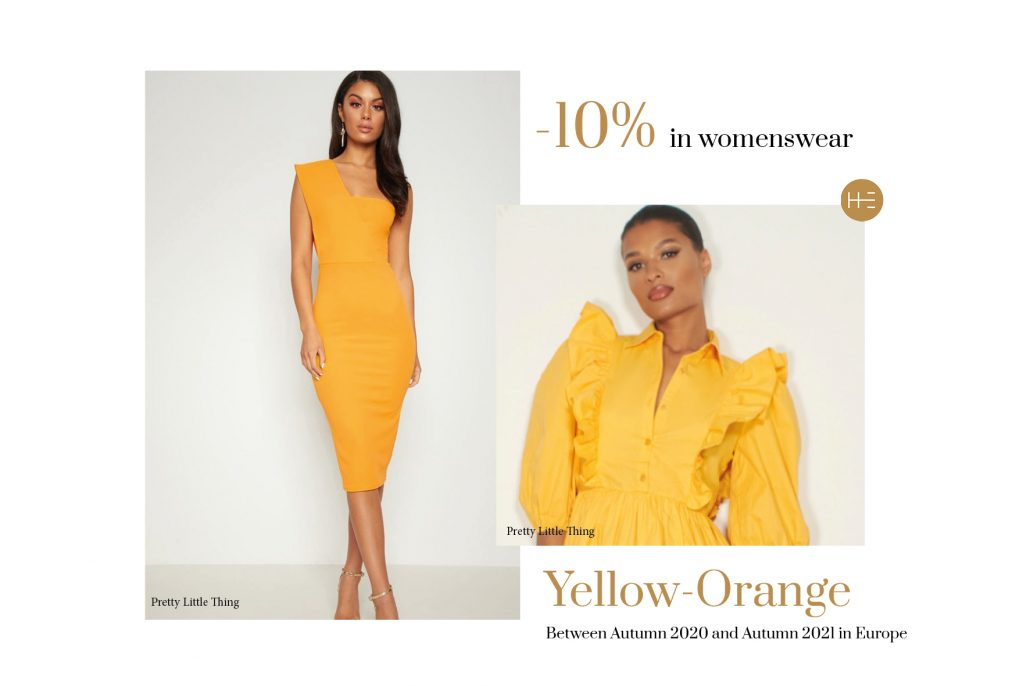 Yellow-orange trend forecast for autumn 2021 by Heuritech for Pretty Little Thing