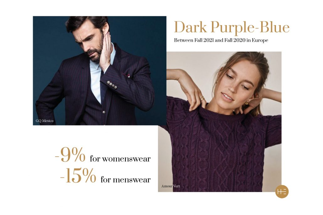 Heuritech trend forecast for dark purple bleu this Fall 2021 in Europe