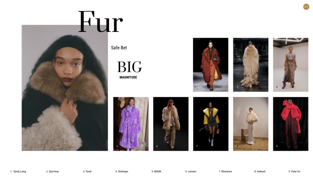 Heuritech trend forecast for fur FW21