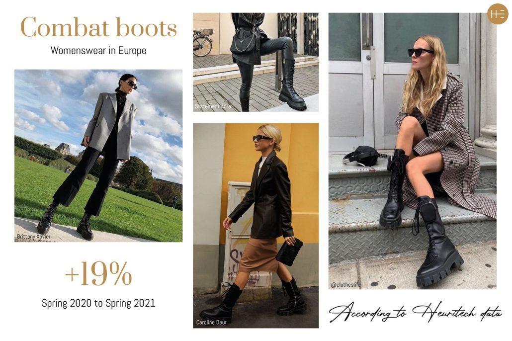 Heuritech trend forecast for combat boots for women in Spring 2021 in Europe