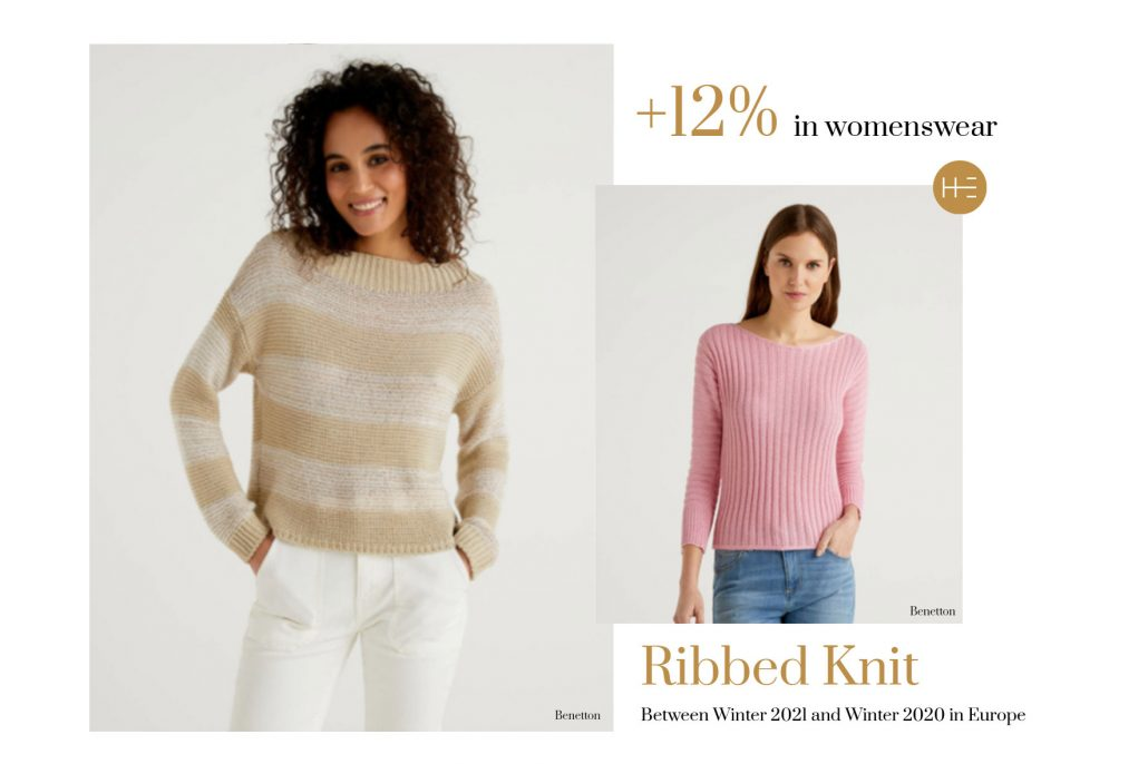Heuritech trend forecasts for ribbed knit this Winter 2021 in Europe