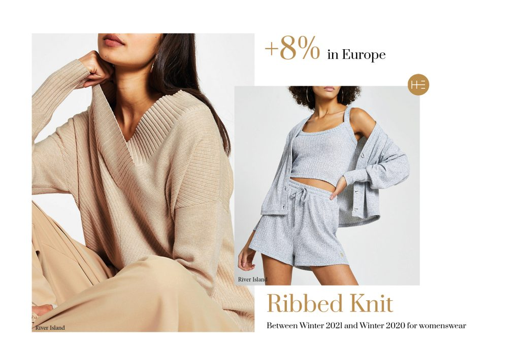 Heuritech forecasts the ribbed knit trend for Winter 2021 in Europe