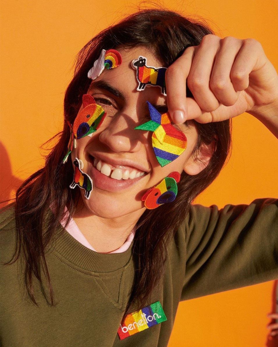 Model poses in bright colors for Benetton Campaign