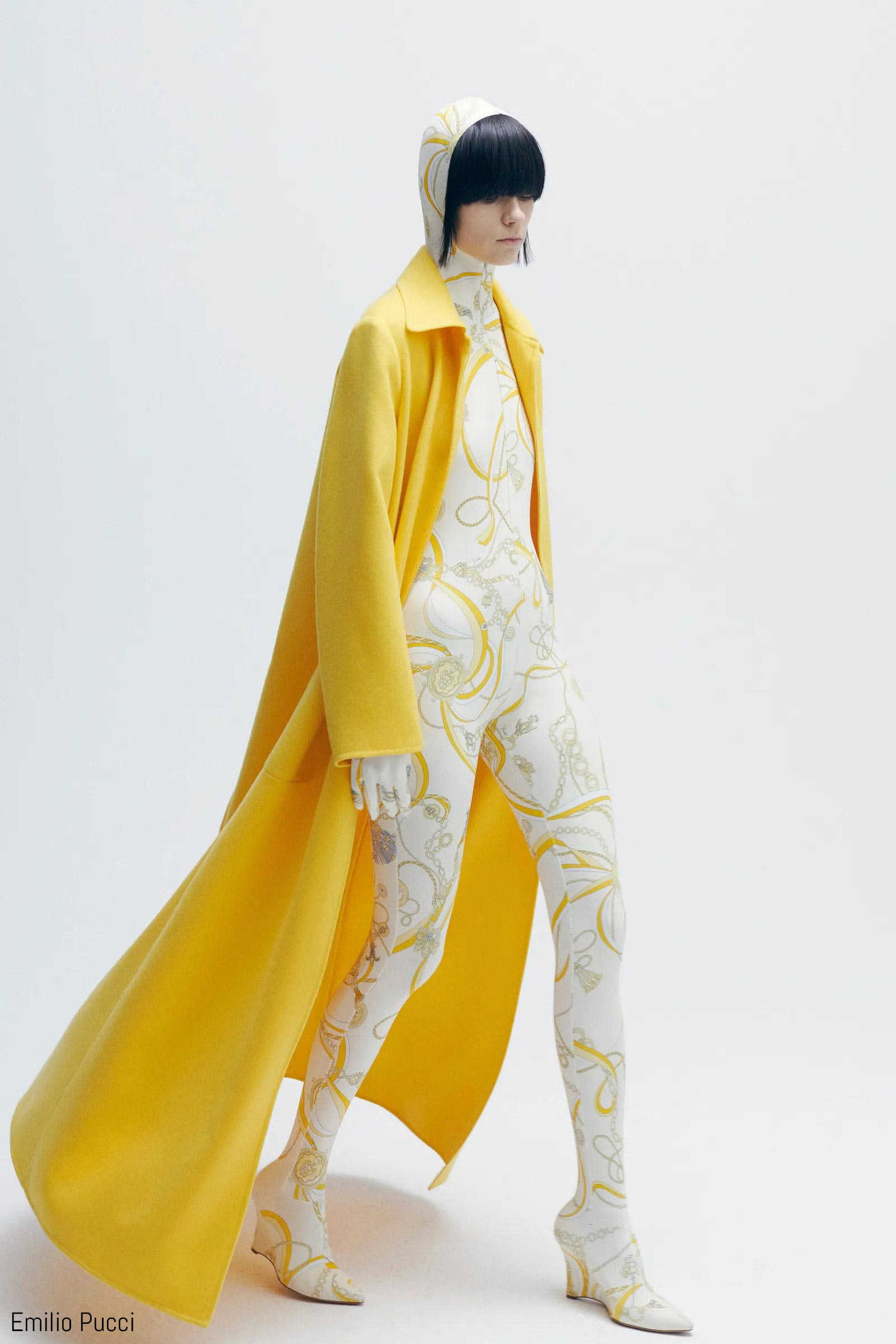model in yellow and white emilio pucci catsuit