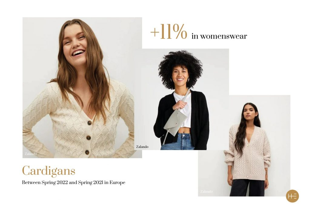 Heuritech trend forecast for cardigans in Europe, Spring 2022