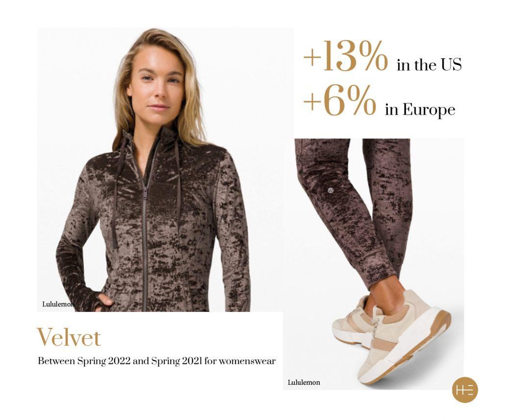 Heuritech trend forecast for velvet in Europe and US womenswear for Lululemon