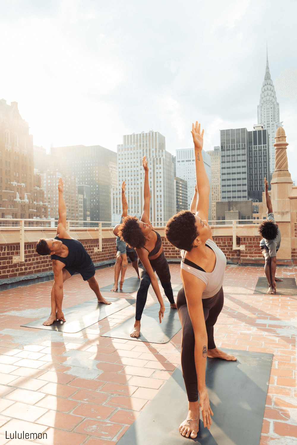 Models do yoga in Lululemon