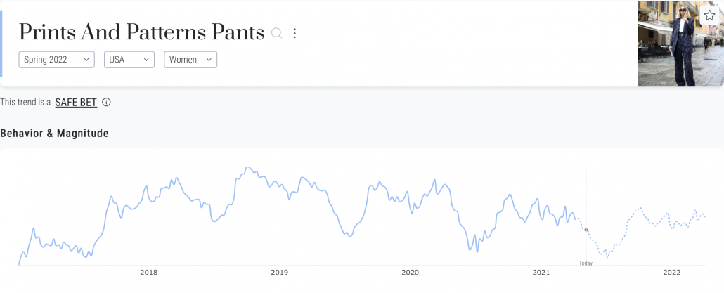 heuritech trend forecasting platform for prints and patterns pants in spring 2022 in us women