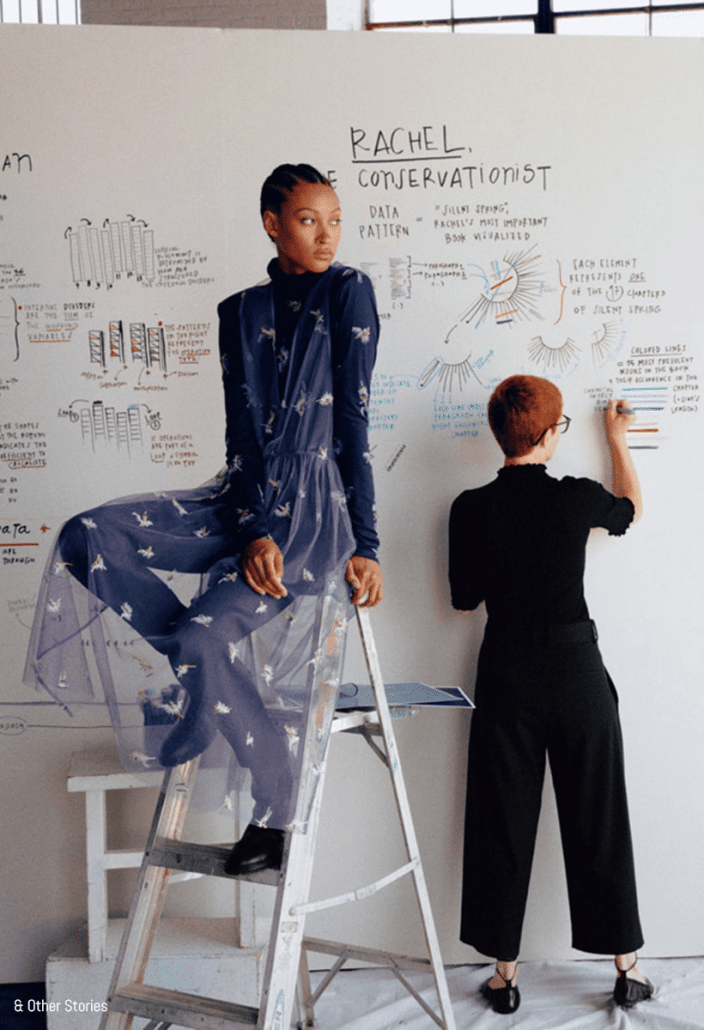 Model poses with a designer