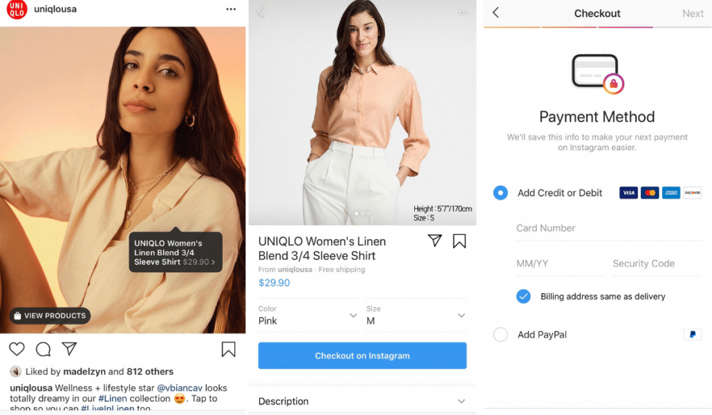 Uniqlo Instagram shopping to online website