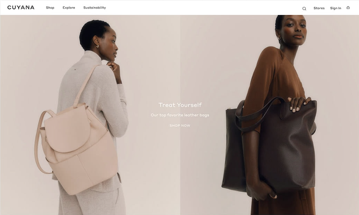 Homepage Cuyana ecommerce site