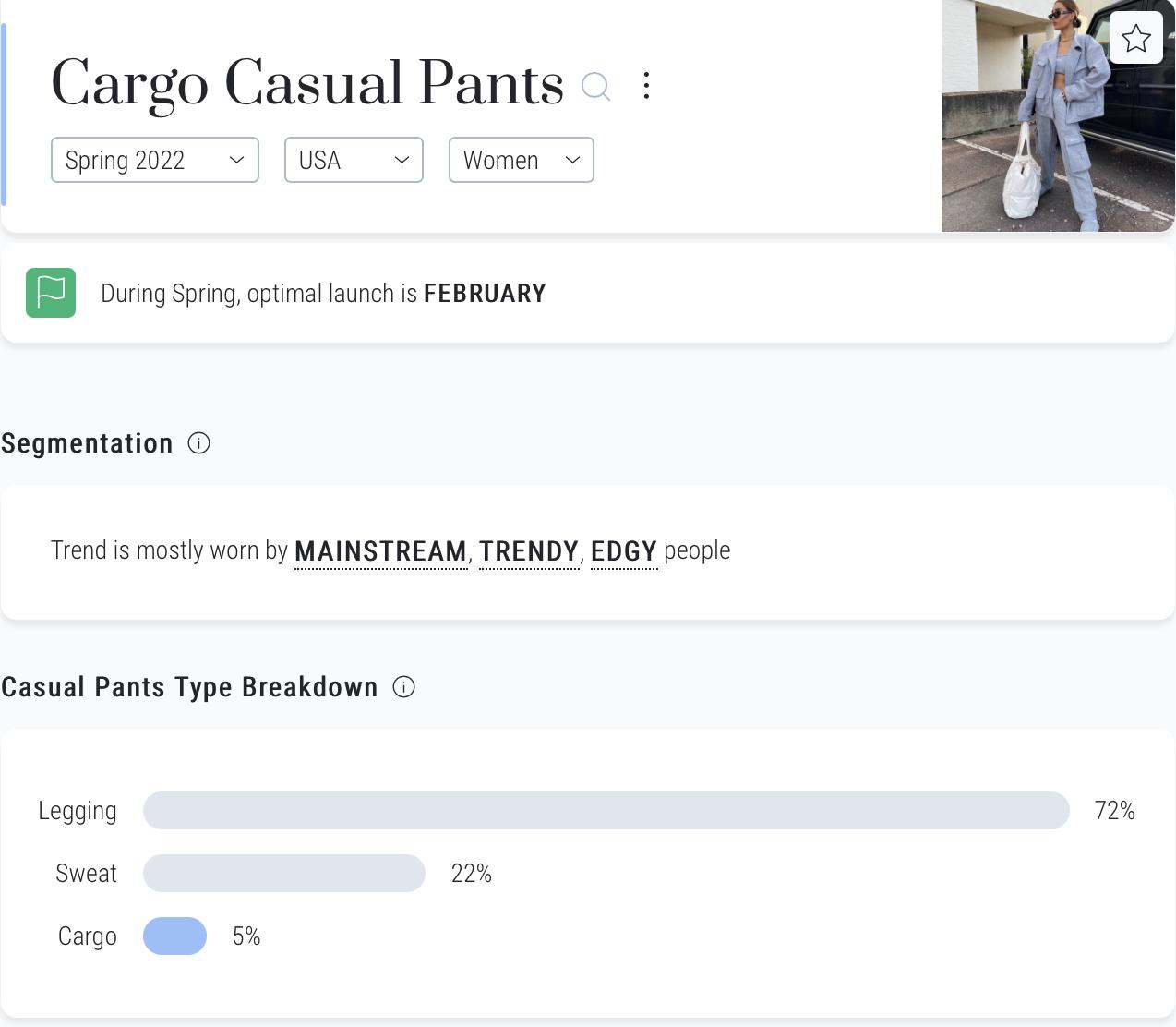 Heuritech platform cargo pants spring 2022 us women