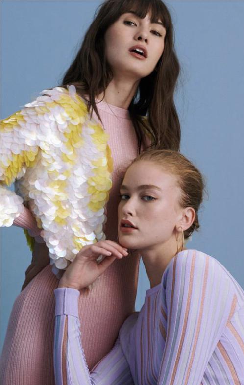 Two models pose for Diane Von Furstenberg