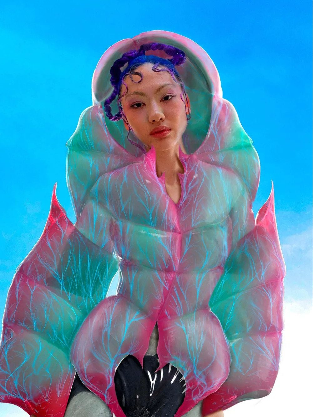 Virtual model poses in virtual clothing for Auroboros
