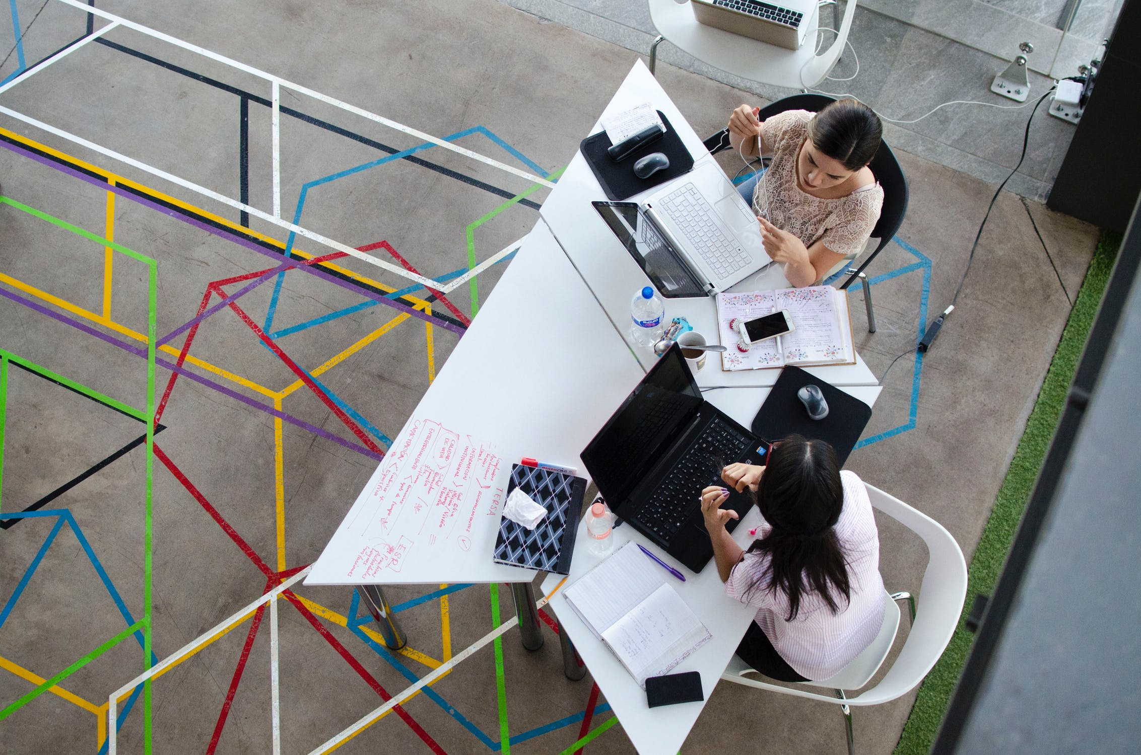 People working in an open space office